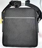 Мужская текстильная городская сумка, черная барсетка через плечо со вставками из кожзама 21*24 см, фото 3
