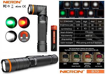 Фонарь NICRON B70 Black + 18650*2600mAh (1200LM, USB Type-C, Cree XPL HI V2 Led, 5 диодов, IPX4, Магнит, 90 °)