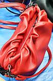 Женский красный клатч, сумочка на молнии Премиум класса с цепочкой 29*17 см, фото 2