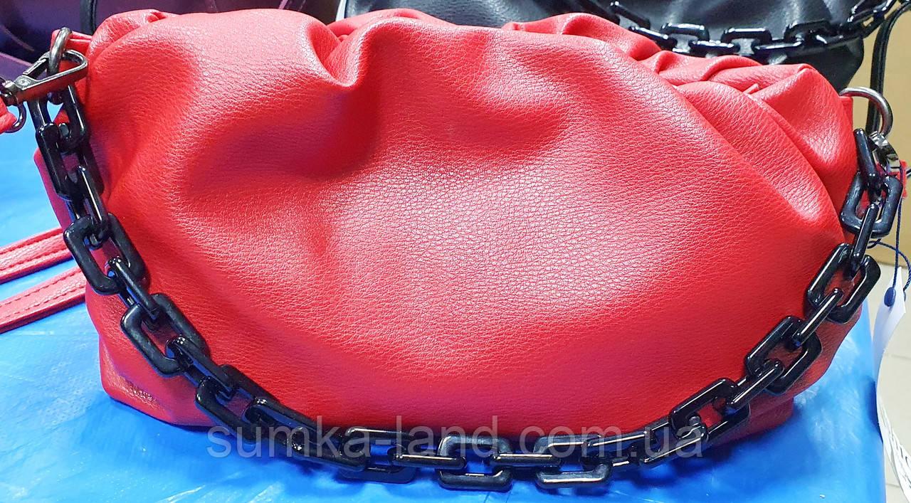 Женский красный клатч, сумочка на молнии Премиум класса с цепочкой 29*17 см