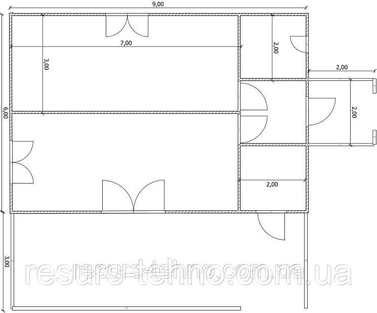 Будинок 9м х 6м з терасою 3м х 9м