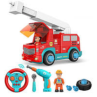 Детская Пожарная машина на шурупах: 19 см, на радиоуправлении, фигурка, инструменты