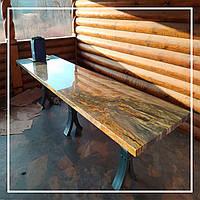 Обідній стіл з Бразильського граніту Блю Фаєр (Blue Fire)., фото 1
