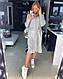 Вязаное платье свободное с карманами оверсайз СЕРЫЙ 44-48, фото 3
