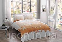 Комплект постельного белья Tac сатин Glow London gold евро золотой