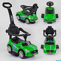 Машинка-Толокар 22003 JOY с ручкой, цвет зеленый. Музыкальный руль