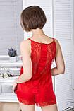 Піжама шовкова з мереживною спинкою Пк1040 Червоний, фото 2