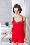 Піжама шовкова з мереживною спинкою Пк1040 Червоний, фото 4