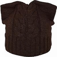 Темно коричневая шапка Ушки на флисе