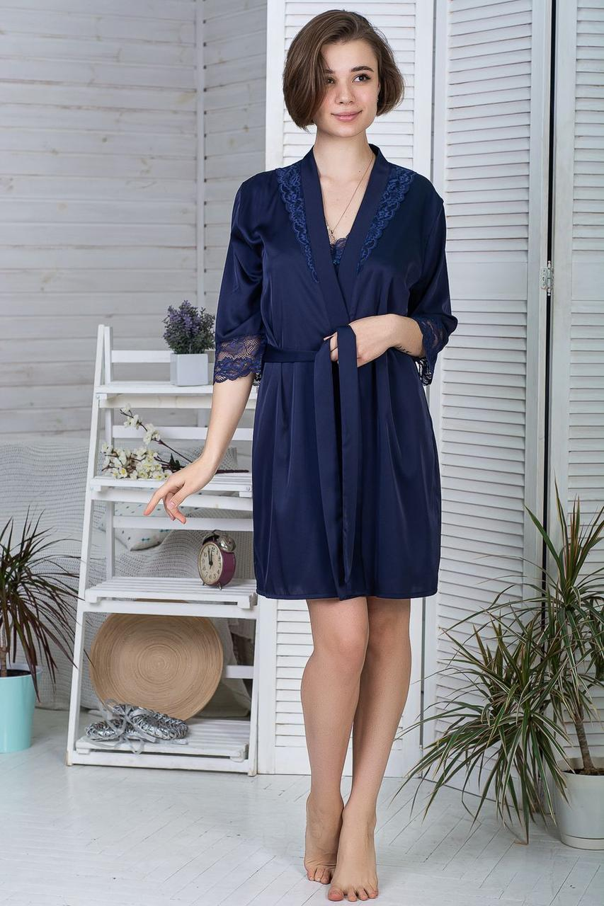 Жіночий шовковий халат Х422 Синій