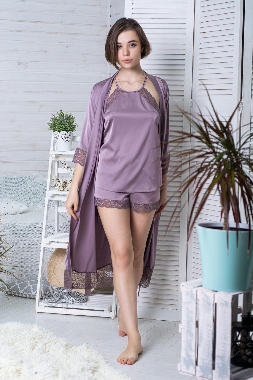Комплект шовковий піжама з халатом 110 см К1081п