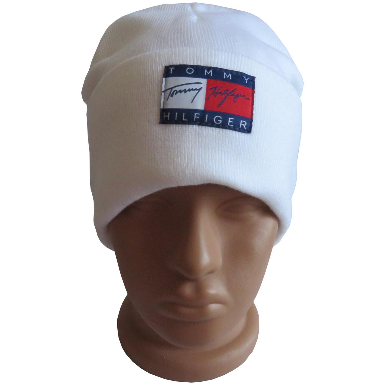 Молодежная двойная шапка с нашивкой, белая