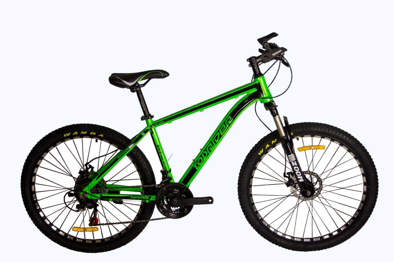 """Гірський велосипед TopRider 680 R26"""" 17"""" алюмінієвий з дисковими гальмами (Салатовий)"""