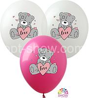 """Воздушные шары """"Мишка Тедди с сердцем"""" 12""""(30 см) пастель ассорти В упак: 100шт ТМ Арт «SHOW»"""