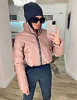 Жіноча стильна тепла куртка з еко-шкіри на силікон (Норма), фото 2