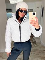 Жіноча стильна тепла куртка з еко-шкіри на силікон (Норма), фото 3
