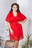 Короткий шовковий халат XXL+ Х928 Червоний, фото 3
