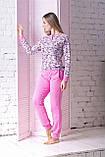 Комплект брючний для дома П1204 Принт цв.+ рожевий, фото 3