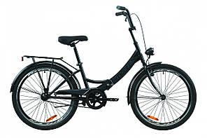 """Велосипед 24"""" Formula SMART с багажником зад St, с крылом St, с фонарём 2020 (черно-серый с белым (м))"""