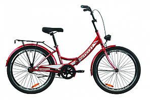 """Велосипед 24"""" Formula SMART с багажником зад St, с крылом St, с фонарём 2020 (красный)"""