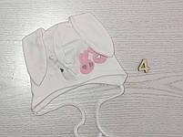 Трикотажная шапка с ушками зайчик для девочек Размер 42-44 см Возраст 3-7 месяцев, фото 7