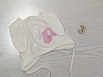 Трикотажная шапка с ушками зайчик для девочек Размер 42-44 см Возраст 3-7 месяцев, фото 6