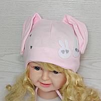 Трикотажная шапка с ушками зайчик для девочек Размер 42-44 см Возраст 3-7 месяцев, фото 2
