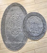 Комплект м'яких овальних килимків для ванної кімнати бавовняна нитка з пелюсткою сірі