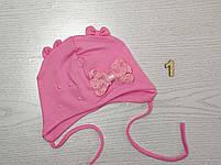 Шапочка трикотажная для девушек с бантиком на завязках Размер 42-44 см Возраст 3-7 месяцев, фото 3