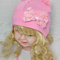 Шапочка трикотажная для девушек с бантиком на завязках Размер 42-44 см Возраст 3-7 месяцев, фото 2