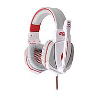 Геймерські навушники Kotion Each G4000 з мікрофоном і підсвіткою (Біло-червоний)