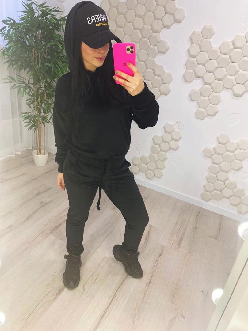 Жіночий модний велюровий спортивний костюм з капюшоном (Норма)