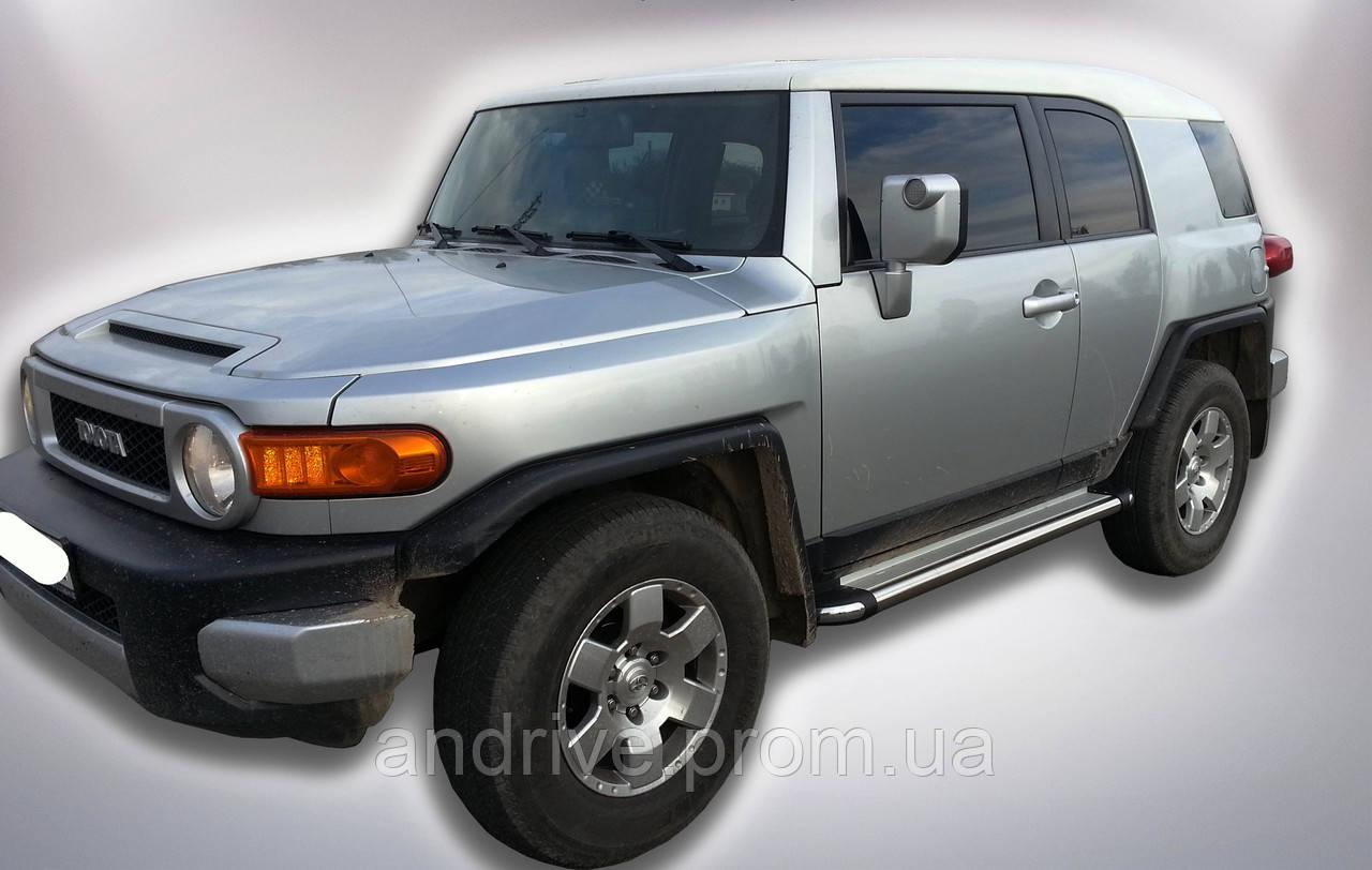 Пороги боковые (подножки-площадка) Toyota FJ Cruiser 2006-2013 (Ø60)