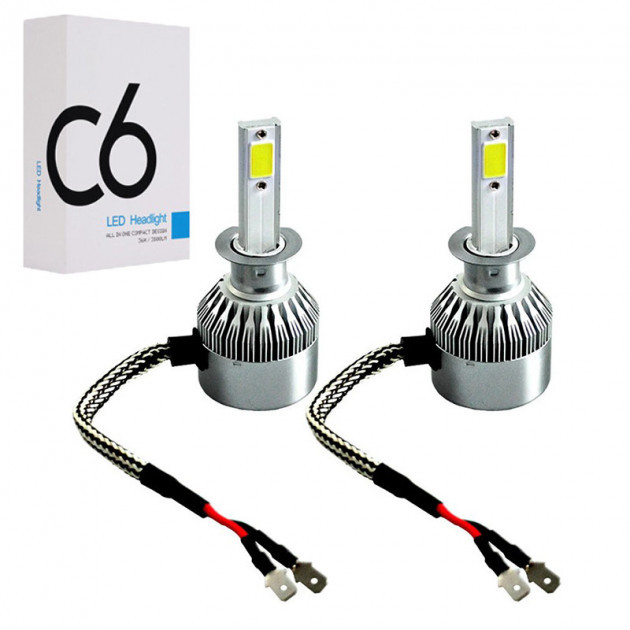 Комплект LED ламп для авто Ближний/Дальний Headlight C6 H1, светодиодные лампы в авто, передний свет
