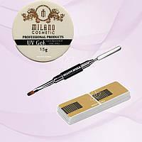 Набор для наращивания ногтей Milano с кистью и формой для ногтей в рулоне