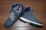 Черевики жіночі сині зимові на шнурівці С111, фото 3