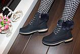 Черевики жіночі сині зимові на шнурівці С111, фото 6