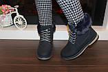 Черевики жіночі сині зимові на шнурівці С111, фото 7