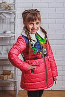 Пальто для девочки с бантом весна-осень коралл