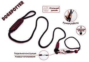 Поводок контроллер и ошейник удавка для собак 2 в 1 с фикасатором DogSpotter 1,7 метра черно-красный, фото 3
