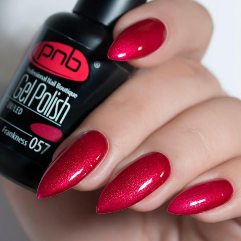 Гель лак PNB 057, 8 мл бордовый благородный цвет