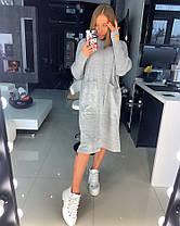 Вязаное платье свободное с карманами оверсайз СЕРЫЙ 44-48, фото 2