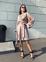Шовкове плаття до коліна на запах з високою талією і декольте БЕЖЕВИЙ 42-46, фото 3
