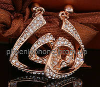 Загадочные серьги с кристаллами Swarovski, покрытые слоями золота (204650)