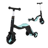 Велосипед детский 3в1 JT 20255 Best Scooter, самокат-велобег-велосипед, Голубой, свет, 8 мелодий, колёса PU