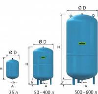 Расширительный мембральный бак Refix DC 100л,10 бар, 3/4  для систем водоснабжения, гидроаккумулятор