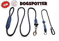 Поводок контроллер и ошейник удавка для собак 2 в 1 с фиксатором DogSpotter 1,7 метра черно-синий