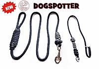 Поводок контроллер и ошейник удавка для собак 2 в 1 с фиксатором DogSpotter 1,7 метра сине-желтый