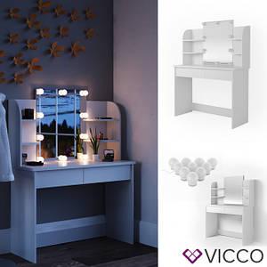Туалетний столик з підсвічуванням Vicco Charlotte 108x142, білий