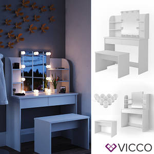 Vicco туалетний столик Charlotte 108x142 + лавка + підсвічування, колір білий